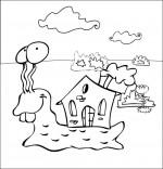 Coloriage Comptine Petit escargot, un escargot et sa maison sur le dos