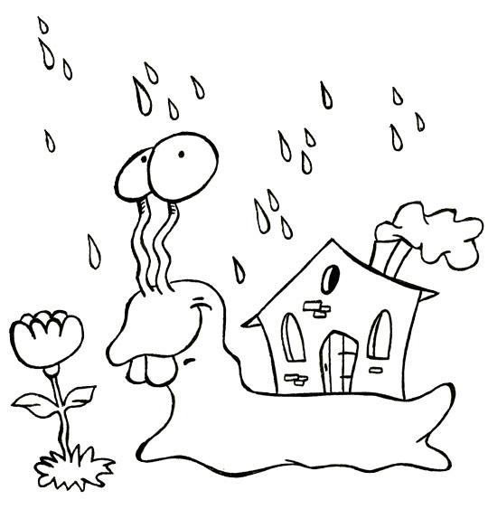 Coloriage Comptine Petit escargot, un escargot sous la pluie