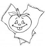 Coloriage Comptine Pomme de reinette et pomme d'api, une belle pomme rouge