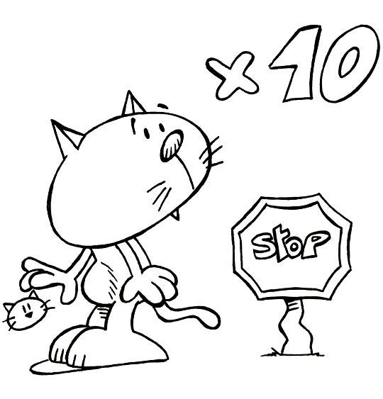 Coloriage Comptine Stop Chat suffit, un petit chat tout rouge