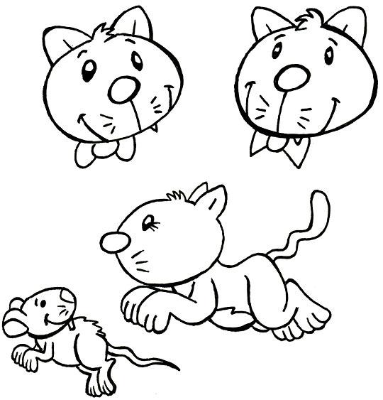 Coloriage Comptine Trois chats sur le tapis, un chat bondit sur une souris