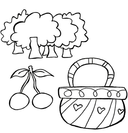 Coloriage Comptine Un, deux, trois, nous irons au bois, le panier et les cerises