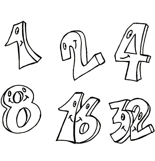 Coloriage pour enfants. Coloriage Un et un deux, c'est heureux, 1, 2, 4, 8, 16, 32, catégorie Comptine Un et un deux, c'est heureux