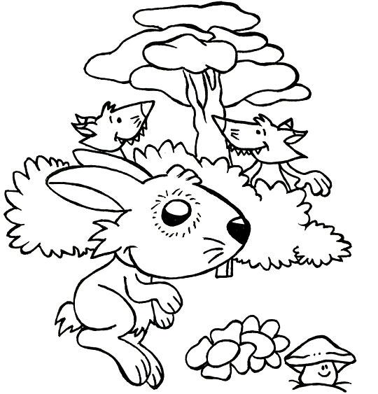 Coloriage pour enfants. Coloriage Un petit lapin, deux renards observent Petit Lapin, thème Renard