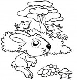 Coloriage Comptine Un petit lapin, deux renards observent Petit Lapin