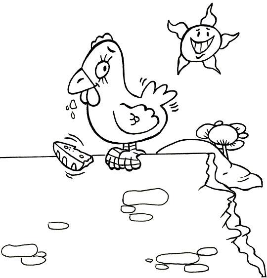 Coloriage Comptine Une poule sur un mur, la poule picore du pain dur