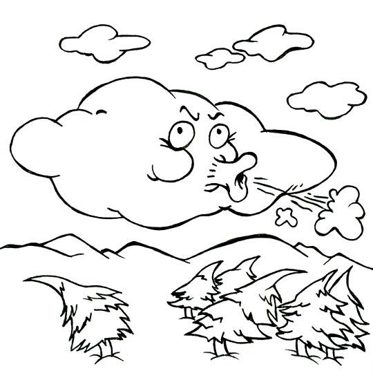 Coloriage pour enfants. Coloriage Vent frais, vent du matin, le nuage qui souffle, thème Sapin