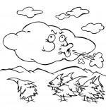 Coloriage Comptine Vent frais, vent du matin, le nuage qui souffle