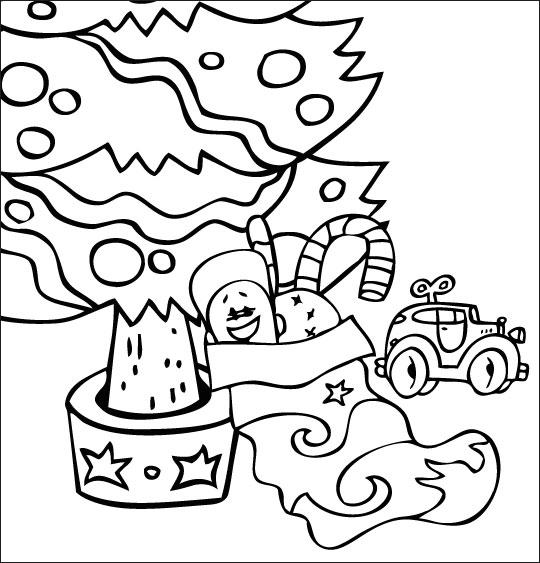 Coloriage Conte La Nuit avant Noël, la chaussette de Noël sous le sapin