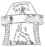 Coloriage Conte La Nuit avant Noël, la cheminée est décorée pour Noël