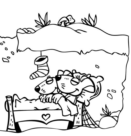 Coloriage pour enfants. Coloriage La Nuit avant Noël, la maison des souris sous la neige, catégorie Conte La Nuit avant Noël