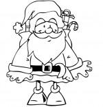 Coloriage Conte La Nuit avant Noël, Le père Noël  avec sa hotte sur le dos