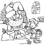 Coloriage Conte La Nuit avant Noël, Le pére Noël donne les cadeaux