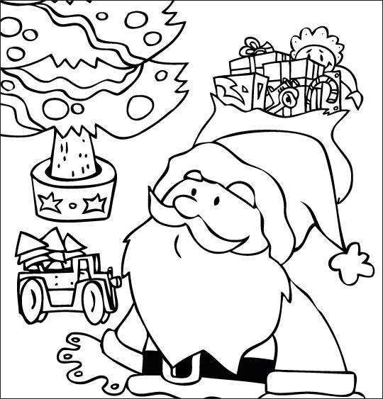 Coloriage pour enfants. Coloriage La Nuit avant Noël, Le père Noël dubitatif sous le sapin, catégorie Chanson de Noël Petit Papa Noël