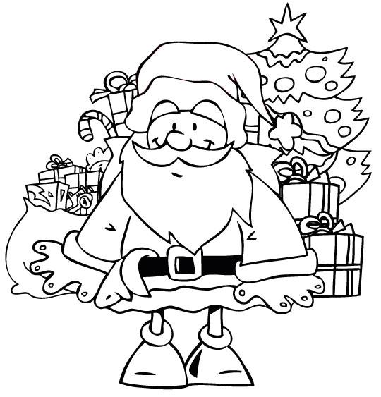 Coloriage Conte La Nuit avant Noël, Le père Noël et les jouets sous le sapin