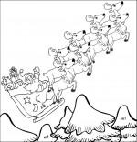 Coloriage Conte La Nuit avant Noël, le père Noël  et son traineau sous la neige