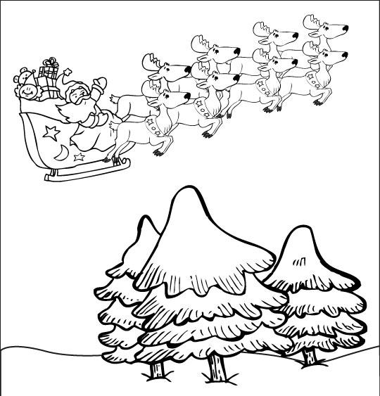 Coloriage pour enfants. Coloriage La Nuit avant Noël, le père Noël vole au dessus des sapins, catégorie Chanson de Noël Petit Papa Noël