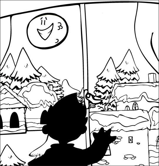 Coloriage Conte La Nuit avant Noël, un enfant cherche le père Noël