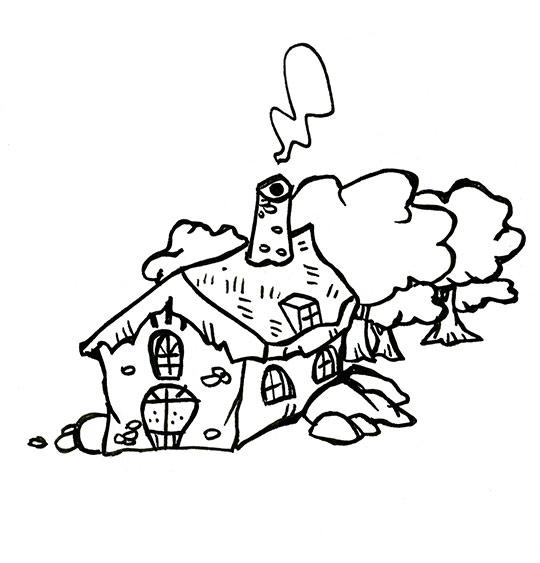 Coloriage pour enfants. Coloriage conte Le petit Poucet, la maison de l'ogre, catégorie Conte Le petit Poucet