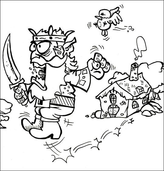 Coloriage pour enfants. Coloriage conte Le petit Poucet, l'ogre qui dévore les petits enfants, thème Maisons