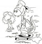 Coloriage Cours de dessin pour enfants, le dinosaure fonce à l'école