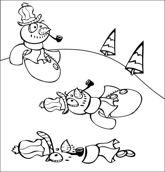 Coloriage pour enfants. Coloriage poésie de Noël, le bonhomme de neige fond sous le soleil, catégorie Poésie de Noël : Le bonhomme de neige