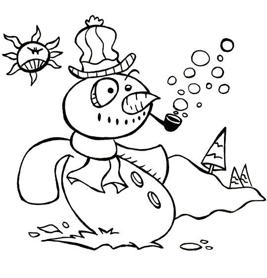 Coloriage pour enfants. Coloriage Le bonhomme de neige, le bonhomme fait des bulles de savon, catégorie Poésie de Noël : Le bonhomme de neige
