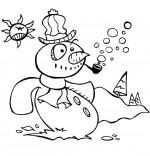 Coloriage Poésie de Noël Le bonhomme de neige, le bonhomme fait des bulles de savon