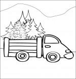 Coloriage Poésie de Noël Le sapin de Noël, le camion qui transporte les sapins