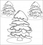 Coloriage Poésie de Noël Le sapin de Noël, les sapins sous la neige