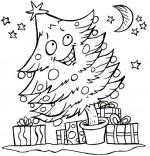 Coloriage Poésie de Noël Le sapin de Noël, un sapin de Noël sous les étoiles