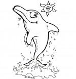 Coloriage Vacances avec les enfants, le dauphin