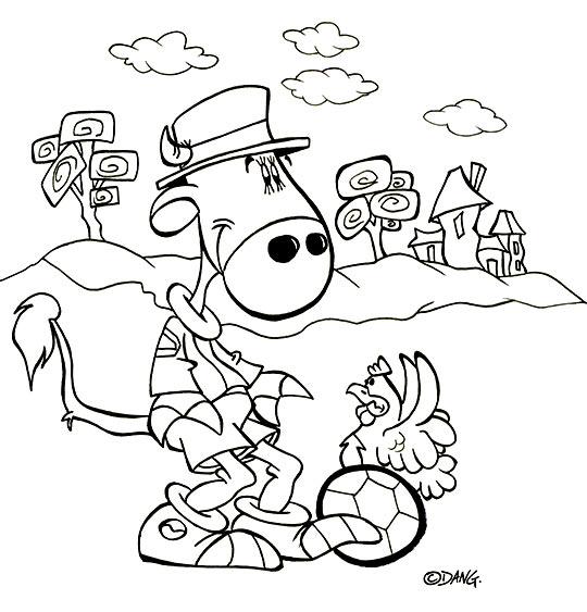 Coloriage pour enfants. Coloriage des vacances d'été à la campagne, la vache joue au foot, thème Vache