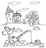 Coloriage Vacances d'été à la campagne, le renard pêche