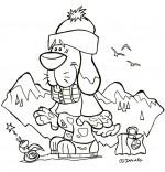 Coloriage Vacances d'été à la montagne, le chien Saint Bernard