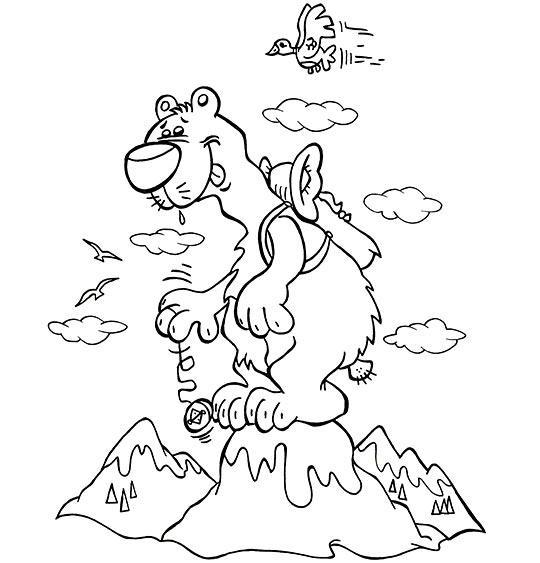 Coloriage pour enfants. Coloriage des vacances d'été à la montagne, un ours au sommet, thème Ours
