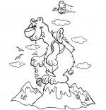 Coloriage Vacances d'été à la montagne, un ours au sommet
