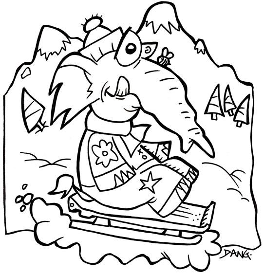 Coloriage pour enfants. Coloriage des vacances de février, un éléphant fait de la luge sur la neige, thème Vacances de février
