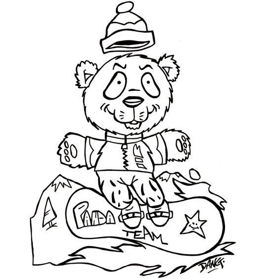 Coloriage pour enfants. Coloriage des vacances de février, un panda surfe sur la neige, thème Panda