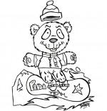 Coloriage Vacances de février, un panda surfe sur la neige