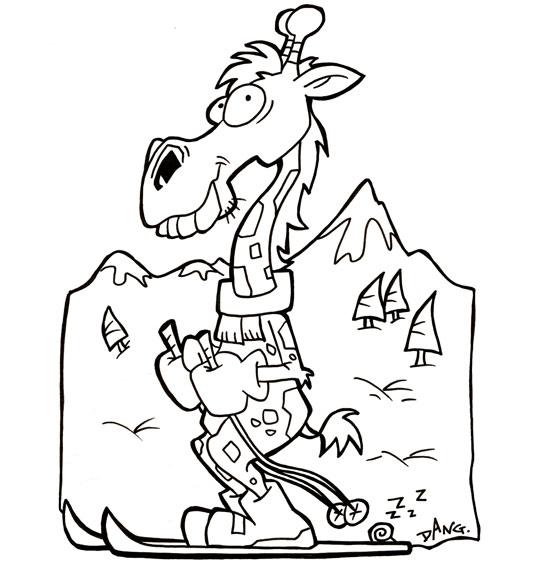 Coloriage Vacances de février, une girafe fait du ski à la montagne