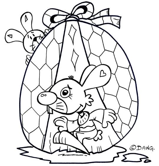 Coloriage pour enfants. Coloriage Vacances de Pâques, deux lapins et un oeuf en chocolat, thème Lapin