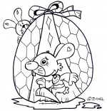Coloriage Vacances de Pâques, deux lapins et un oeuf en chocolat
