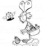 Coloriage Vacances de Pâques, le lapin ramasse les oeufs en chocolat