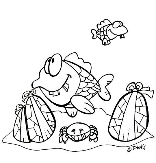 Coloriage pour enfants. Coloriage Vacances de Pâques, les poissons et les oeufs de Pâques, catégorie Vacances avec les enfants, une rubrique Stéphyprod