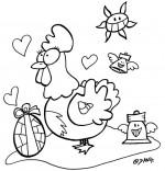 Coloriage Vacances de Pâques, une poule amoureuse d'un oeuf en chocolat