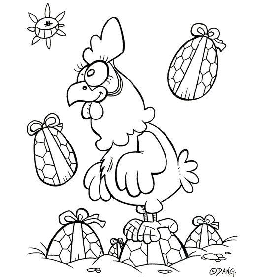 Coloriage pour enfants. Coloriage Vacances de Pâques, une poule au milieu des oeufs de Pâques, catégorie Vacances de Pâques pour les enfants, une rubrique Stéphyprod