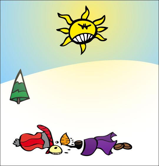 Dessin le bonhomme de neige a disparu, catégorie Poésie de Noël : Le bonhomme de neige