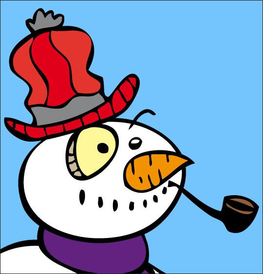 Dessin le bonhomme de neige en gros plan, catégorie Poésie de Noël : Le bonhomme de neige