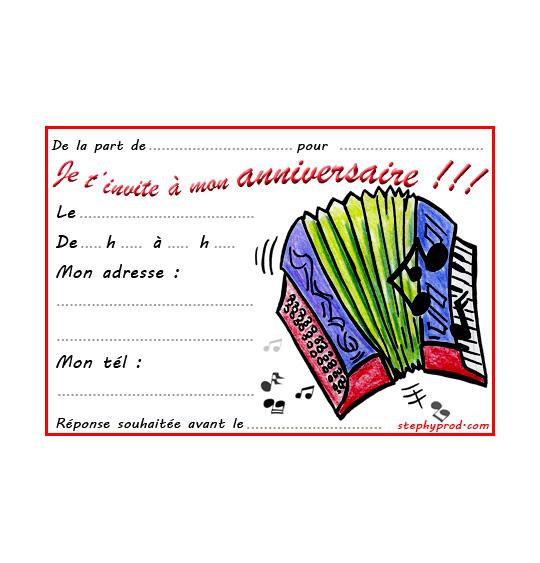 Dessin carte anniversaire pour enfant, l'accordéon, catégorie Carton invitation anniversaire musique